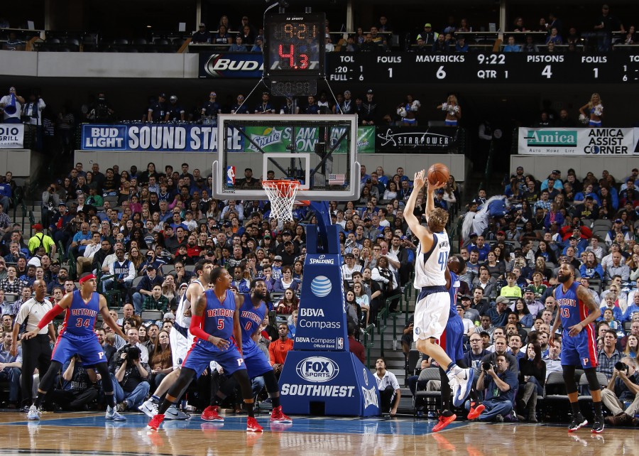 DALLAS, TX - MARCH 9: Dirk Nowitzki #41 of the Dallas Mavericks shoots a jumper against the Detroit Pistons on March 9, 2016 at the American Airlines Center in Dallas, Texas. NOTE TO USER: User expressly acknowledges and agrees that, by downloading and or using this photograph, User is consenting to the terms and conditions of the Getty Images License Agreement. Mandatory Copyright Notice: Copyright 2016 NBAE (Photo by Danny Bollinger/NBAE via Getty Images)