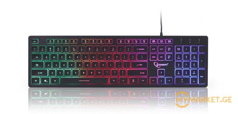 """KB-UML-01 """"Rainbow"""" backlight multimedia keyboard, black, US"""