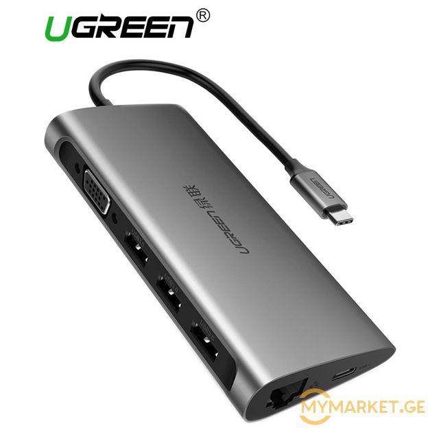 ადაპტერი UGREEN CM147 Type-C adapter - VGA Full HD 60Hz, 3 x