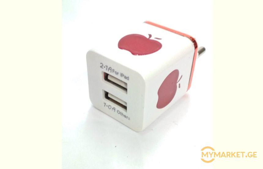 APPLE-ის დამტენის თავი 2  USB პორტით 15 ლარად