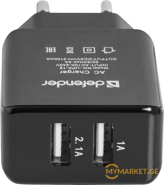 დენის დამტენი AC line adapter Defender UPA-12 2 port USB, 5V