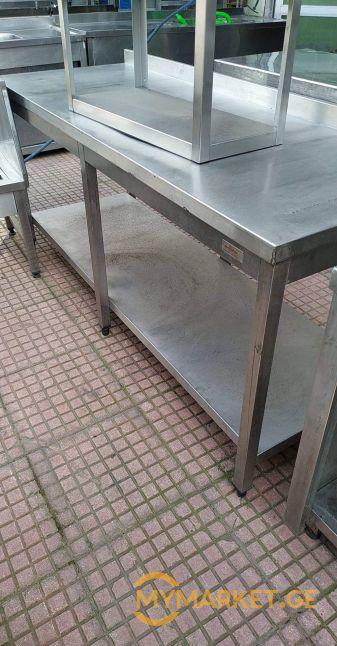 უჟანგავი ლითონის სამუშაო მაგიდა თაროთი ევროპიდან+განვადება