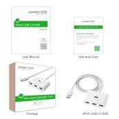USB ჰაბი UGREEN CR113  NEW USB 3.0 4 Ports Hub with 2.0 OTG