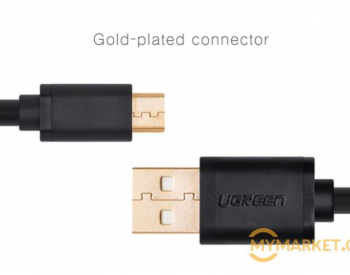 USB კაბელი Ugreen US125 (10837) Micro-USB male to USB male c