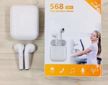 ბლუთუზ სენსორული  ყურსასმენი S68 TWS 70 ლარად უფასო მიტანით